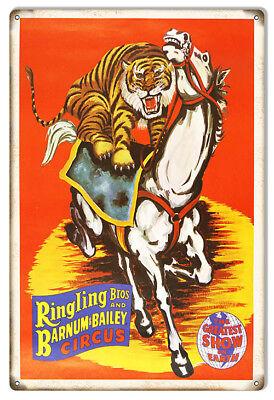 Reproduction Barnum Bailey Tiger Horse Circus Metal Sign 12x18