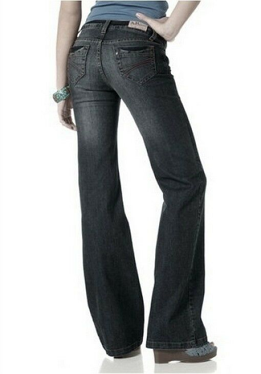 Arizona Jeans NEU Gr.34-42 Damen Bootcut Hose Stretch Black Used Schwarz L32