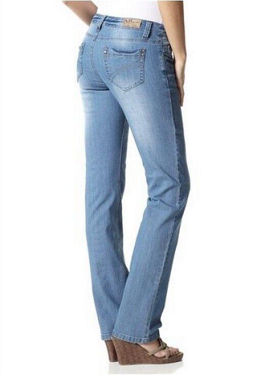 Details zu Arizona Jeans L Gr.72 88 NEU Damen Gerade Hose Stretch Denim Light Blau Used L34