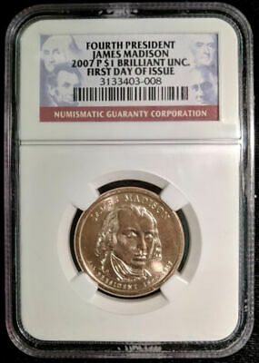 2007 P $1 James Madison Presidential Dollar First Day Issue BU NGC