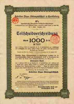 Gebrüder DIPPE Quedlinburg Dessau Braunschweig 1915 TSV 1000 Mark Hildesheim