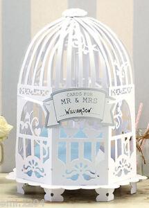 VINTAGE BIRD CAGE WEDDING CARD POST BOX. WHITE