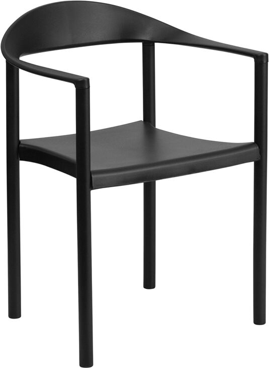 Black Plastic Indoor & Outdoor Restaurant Dining Stack Chair W/ 500 Lbs Capacity