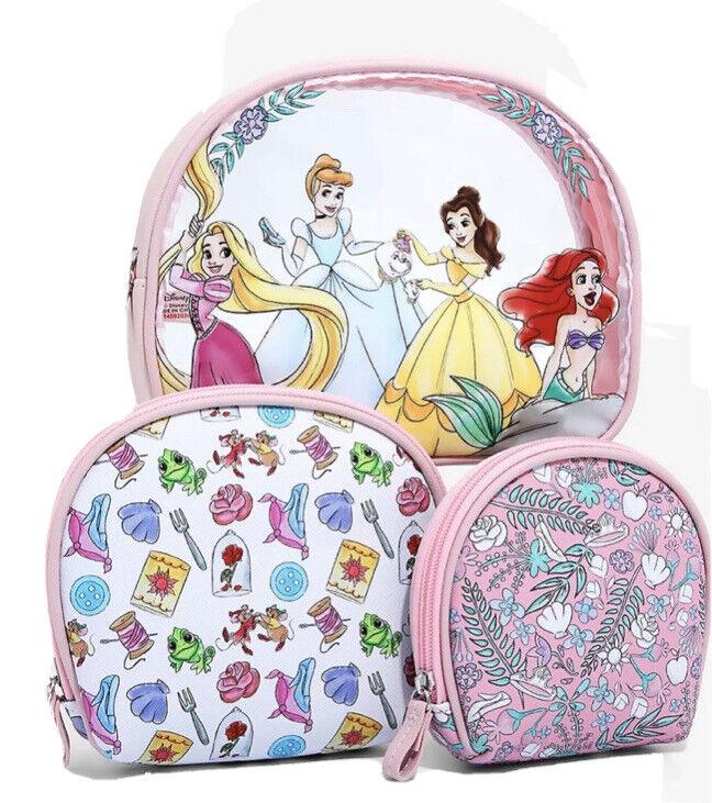 Disney Princess Cosmetic Bag Set 3 Piece NEW