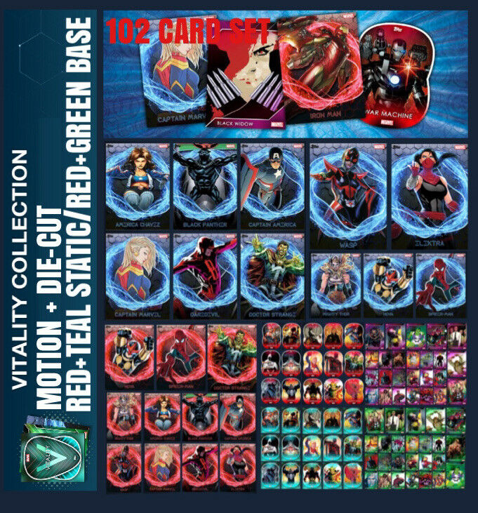 VITALITY-MOTION+DIE CUT+STATIC+BASE SETS-102 CARDS SET-TOPPS MARVEL COLLECT