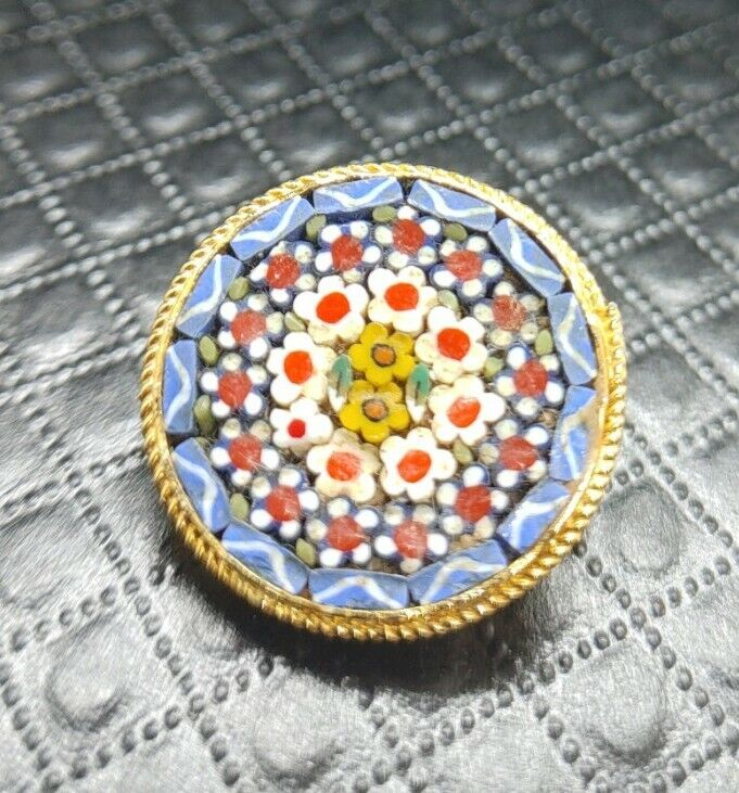 Antique Micro Mosaic Floral Brooch Pin