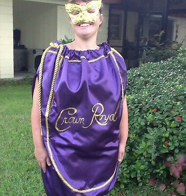 Crown Royal Bag Costume Adult Unisex Mardi Gras St Patrick Halloween Cosplay