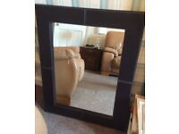 Brown leather style mirror