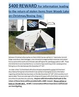 STOLEN WALL TENT, POLES and WOOD STOVE