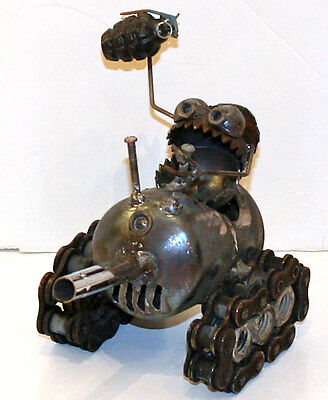 Sugarpost Mini Gnome Be Gome Tank Garden Office Home Welded Metal Art Sculpture #1031
