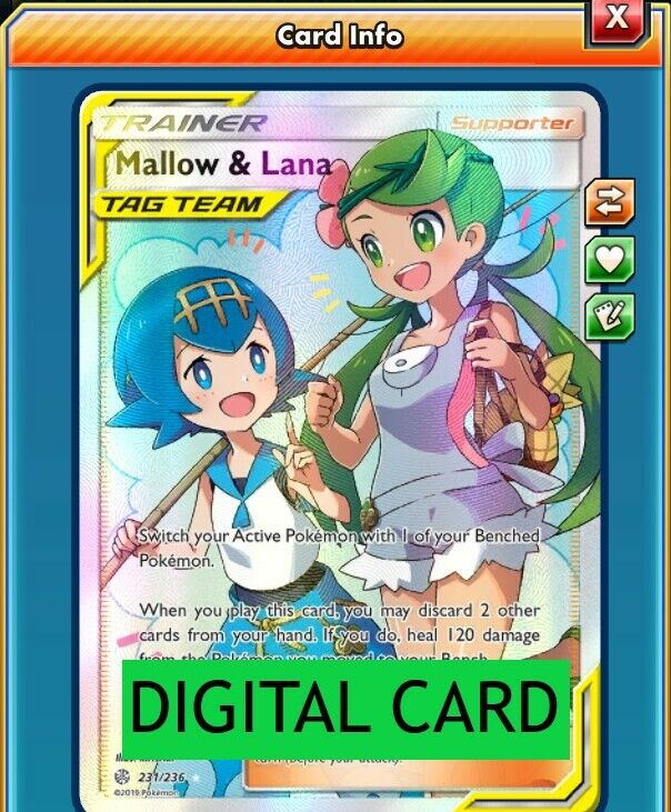 Mallow /& Lana 231//236 SM Cosmic Eclipse Holo Ultra Rare Full Art Pokemon Card NE