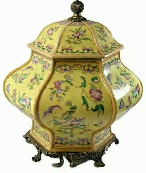 Beautiful Vintage Chinese Yellow Ginger Jar - Hau Rong Tang - Amazing Details!
