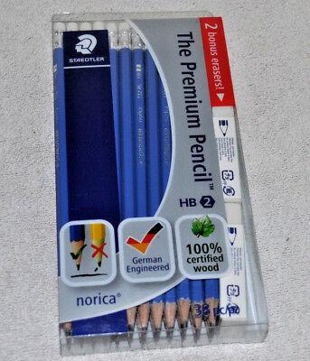 Staedtler Norica Pencil With Eraser Tip Hb Ref 132 46 Pack 12 2 Bonus Erasers
