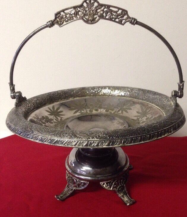 Antique Meriden B Company Victorian Silver Plate Footed Bride