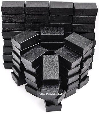 LOT OF 100 BLACK COTTON FILLED BOX JEWELRY GIFT BOXES BRACELET BOX 3 1/4 x 2 1/4