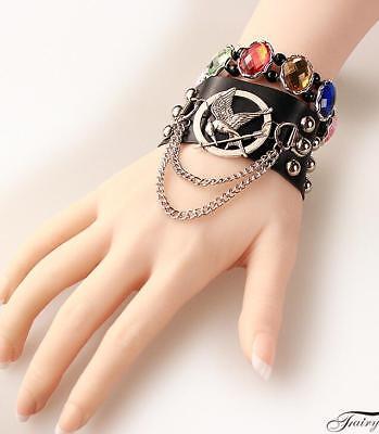 Fashion cool punk hunger games mocking bird black leather bracelet rivets unisex
