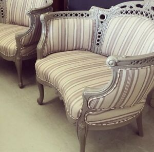 Pair of painted and upholstered chairs