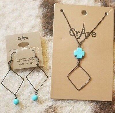 Turquoise Square Cross Dark Brass Diamond Pendant Western Boho Jewelry Set