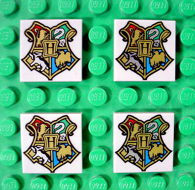 4 pc LEGO Harry Potter HOGWARTS Coat of Arms 2X2 Gray TILE Square SHIELD Set LOT comprar usado  Enviando para Brazil