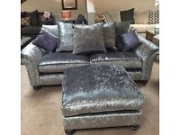 Crushed Velvet Sofa and Large Footstool