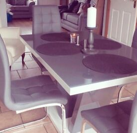 Glass vanity kitchen table and 4 chairs