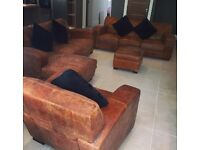 3 Piece Leather Sofa with Pouffe - Corner Sofa Included - Good Quality