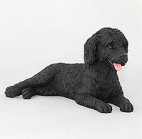 LABRADOODLE BLACK DOG Figurine Statue Hand Painted Resin Gift Pet Lovers