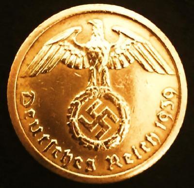 Authentic Rare German 3rd Reich 10 Rpf Coin with SWASTIKA Nazi Germany WW2 Era