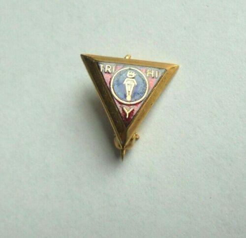 Cool Vintage Tri Hi Y YMCA Club Award Small Enamel Lapel Pin Pinback