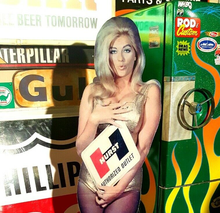 Vintage look Linda Vaughn cardboard cutout Sign 60s look hot rod garage art