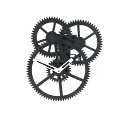 Kikkerland Industrial Triple Gear Motion Black Wall Clock Modern Time Home Decor