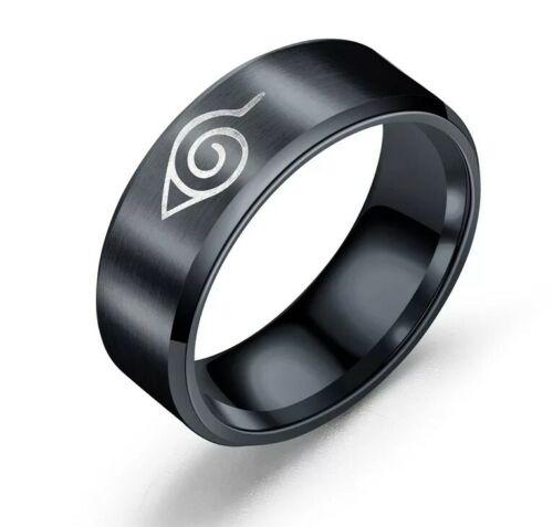 Naruto Akatsuki Uchiha Itachi Logo Ring Fashion Ring Black high Ring For Gift