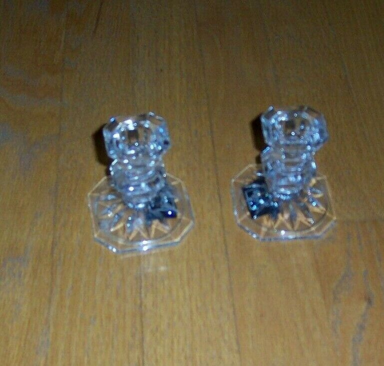 Mikasa Edinburgh 3 Inch Crystal Candle Sticks Candleholders Set Of 2 New In Box - $6.00