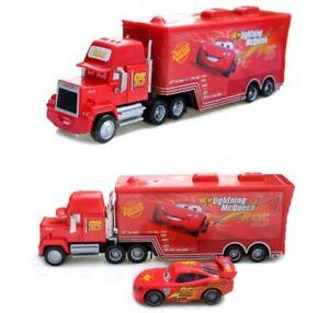 Disney Pixar Car No.95 Mack Racer's Truck & Lightning McQueen Toy Car 1:55 Loose