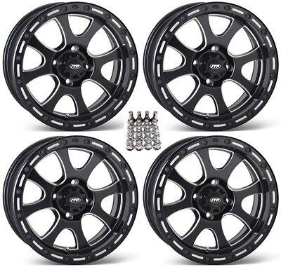 "ITP Tsunami ATV Wheels/Rims Milled/Black 14"" Yamaha Grizzly Rhino (4) for sale  Middleport"