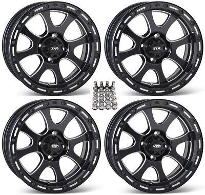 "ITP Tsunami ATV Wheels/Rims Milled/Black 15"" Yamaha Grizzly Rhino (4), used for sale  Middleport"