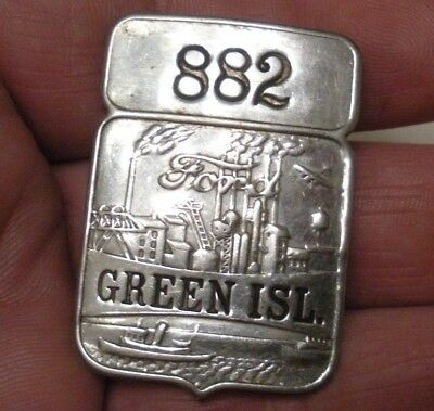 RARE Vintage Ford Employee ID Badge / Pin GREEN ISL. PLANT