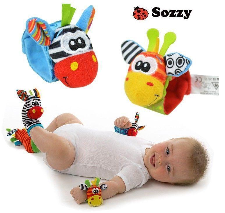 Handgelenk-Rassel  Baby Kinder Lernspielzeug Motorik (Doppelpack) Kontrast Bunt