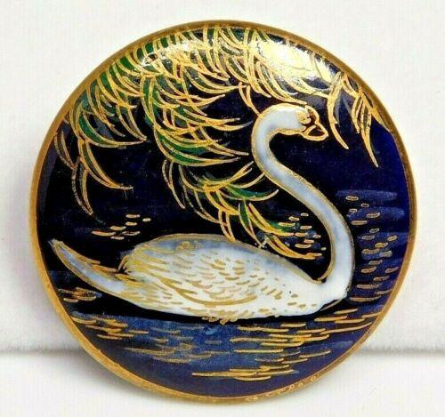 Antique Button Hand Painted SATSUMA Pottery SWAN w Cobalt Blue NICE!