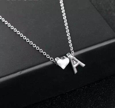 "Initial A-Z Letter Heart Pendant Necklace Silver Tone Personalized Name 18"" N127"