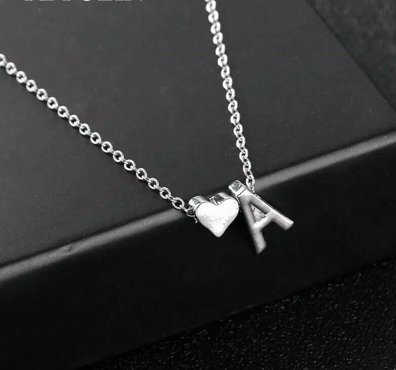Initial A-Z Letter Heart Pendant Necklace Silver Tone Personalized Name 18″ N127 Fashion Jewelry