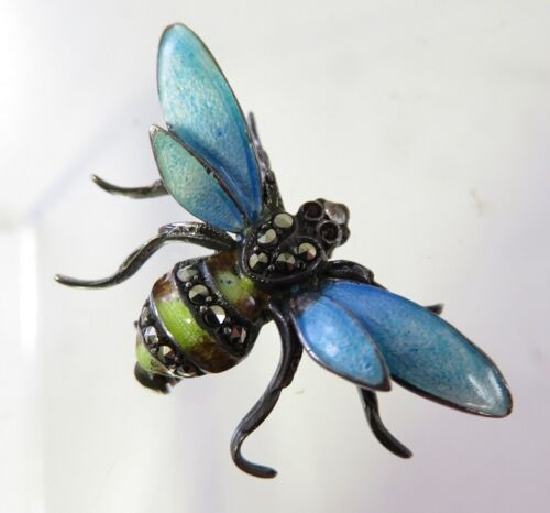 ANTIQUE STERLING SILVER GUILLOCHE ENAMEL BEE PIN WITH MARCASITES GERMANY