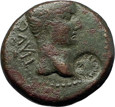 TIBERIUS Colonists Founding PARIUM OXEN Ancient Roman Coin w COUNTERMARK i70805