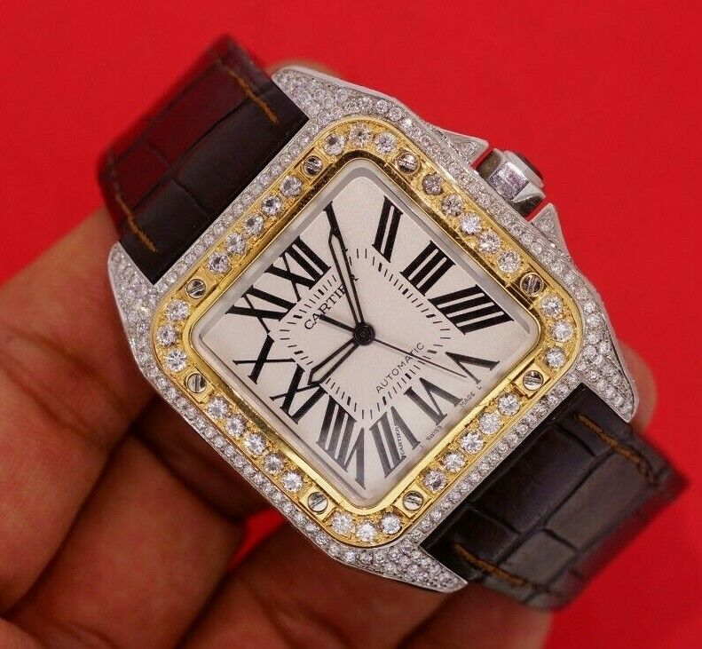 Cartier Santos 100xl Two Tone Watch Fully Iced 550 Diamonds 7.50 Carats - watch picture 1