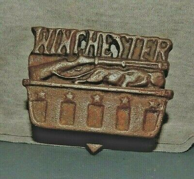 WINCHESTER MATCH HOLDER Cast Iron Wall Mount w RIFLE & WILDCAT Weapons