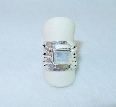 Rainbow Moonstone Faceted Cabochon Ring Wide Cut-Out Band Sterling Silver Size 8 (Rainbow Cut Out)