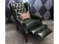 Stunning Chesterfield Recliner Queen Anne Wing Back Chair Green Leather - UK Delivery