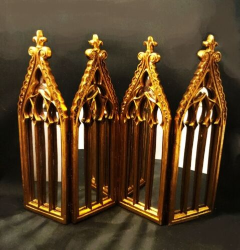 Folding mirrored screen. Gothic. Cathedral windows. Tabletop size. Gold leafed.