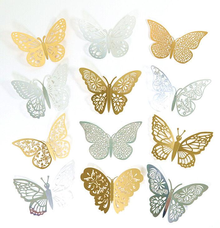 Home Decoration - 12pcs 3D Butterfly Sticker Art Wall Mural Door Decals Home Decor