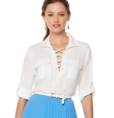 Wendy Williams Sz Med White Long Sleeve Lace Up Blouse  549 459